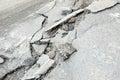Broken cracked asphalt pavement in Russia.