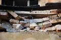 Broken cracked wall made of bricks Royalty Free Stock Photo