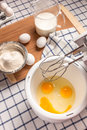 Broken egg yolks in a bowl like a smiley face ingredients for cooking breakfast on the table and fun Royalty Free Stock Images