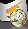 Broken euro coin flag cyprus background Royalty Free Stock Image