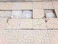Broken floor tiles with the rain drop.
