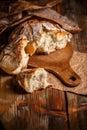Broken fresh bread Royalty Free Stock Photo