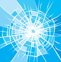 Broken glass background of cracked glass with cracks bullet hole in Royalty Free Stock Image