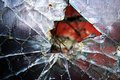 Broken glass shattered window with rusted wire Royalty Free Stock Images