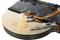 Broken hard drive with a band aid over the disks Royalty Free Stock Photo
