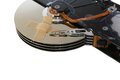Broken hard drives with a band aid over the disks Royalty Free Stock Images