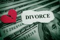Broken heart divorce paper with red on money Royalty Free Stock Photos