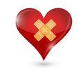 Broken heart heart and band aid illustration design over white Royalty Free Stock Image