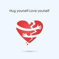 Broken heart icon.Hug yourself or Love yourself logo.