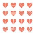 Broken heart icons set