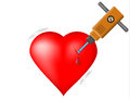 Broken heart jackhammer attack on the blood drop Royalty Free Stock Photo
