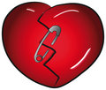 Broken heart with safety-pin Royalty Free Stock Photos