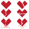 A broken heart is a set of six pixel icons with broken hearts