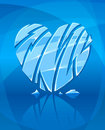 Broken icy heart on blue background Royalty Free Stock Photos