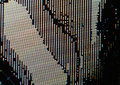 Broken LCD screen closeup image - macro of RGB pixels and defects