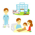 Broken leg in hospital break a bone injured man family nursing Royalty Free Stock Photo