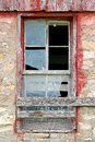 Broken Old Window on Abandoned Barn Background Royalty Free Stock Photo