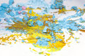 Broken pastel particles and paint Stock Image