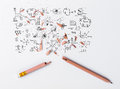Broken Pencil with drawing graph Royalty Free Stock Photo