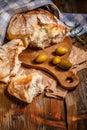 Broken pieces of bread Royalty Free Stock Photo