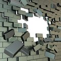 Broken into pieces brick wall with a copyspace hole Stock Photo