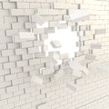 Broken into pieces brick wall with a copyspace hole Royalty Free Stock Photo
