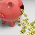 Broken piggybank shows europe economy or wealth Stock Photography