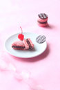Broken Pink Macaron Filled with Chocolate Ganache and Cherry Confit Royalty Free Stock Photo