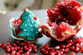 Broken Pomegranate, Seeds and Gingerbread Xmas Tree Cookie Royalty Free Stock Photo