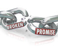 Broken promise chain links breaking unfaithful violation the words on apart to symbolize unfaithfulness mistrust lies deceit Royalty Free Stock Images