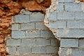 Broken stone and cinder block walls Royalty Free Stock Photo