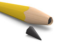 Broken tip close up view of a pencil with d render Royalty Free Stock Photos