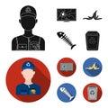 Broken TV monitor, banana peel, fish skeleton, garbage bin. Garbage and trash set collection icons in black,flat style Royalty Free Stock Photo