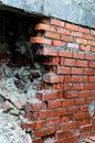 The broken wall of bricks Royalty Free Stock Photo