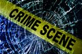 Broken window crime scene