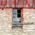Broken Window on Old Vintage Barn Royalty Free Stock Photo