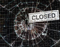 Broken Window Vandalism - Shop Closed Royalty Free Stock Photo