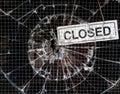 Broken Window Vandalism - Shop Closed Royalty Free Stock Photo