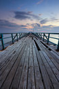 Broken wooden jetty at sunrise in sabah east malaysia borneo Royalty Free Stock Photography