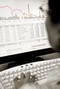 Broker watching stock price falling Royalty Free Stock Photo