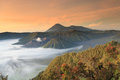 Bromo mountain in tengger semeru national park at sunrise east java indonesia Stock Images