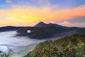 Bromo mountain in tengger semeru national park at sunrise east java indonesia Royalty Free Stock Photo
