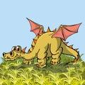 Brontosaurus with wings posuschiysya peacefully on Stock Photo