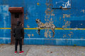 Bronxite admires a bansky painted wall in the bronx ny th october front view of s better out than an artist residency on streets Royalty Free Stock Image