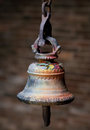 Bronze bell in a hindu temple in Kathmandu, Nepal Royalty Free Stock Photo