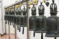 Bronze bell in a temple row of bangkok thailand Royalty Free Stock Photos