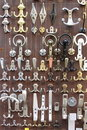 Bronze and brass door knobs Royalty Free Stock Photo