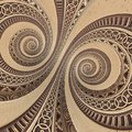 Bronze copper geometrical abstract ornament spiral fractal pattern background. Metal spiral pattern effect background. Concept abs Royalty Free Stock Photo