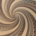 Bronze copper geometrical abstract ornament spiral fractal pattern background. Metal spiral pattern effect background. Concept art Royalty Free Stock Photo
