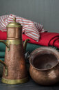 Bronze and copper tea cattle and pot Royalty Free Stock Photo